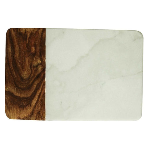 Rectangular Marble & Wood  Cutting Board 10.5x7 - Galena River Wine and Cheese