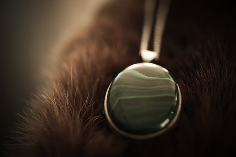 Malachite - Solid Perfume Locket Necklace