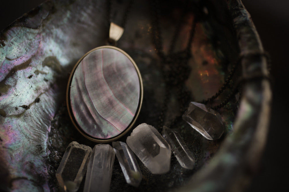 Black Mother of Pearl Perfume Locket