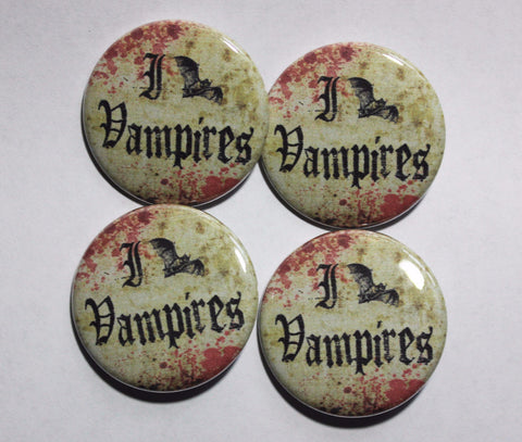 "I love Vampires 1.5"" Pinback Button or Magnet"