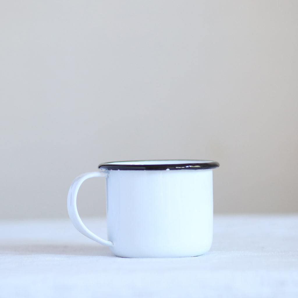 Enamel Latte Mug - Black Trim