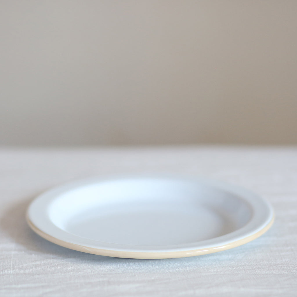 Enamel Plate - White with Cream Trim