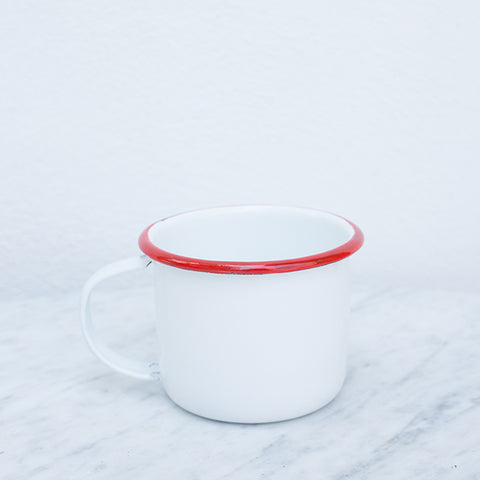 Enamel Latte Mug - Red Trim