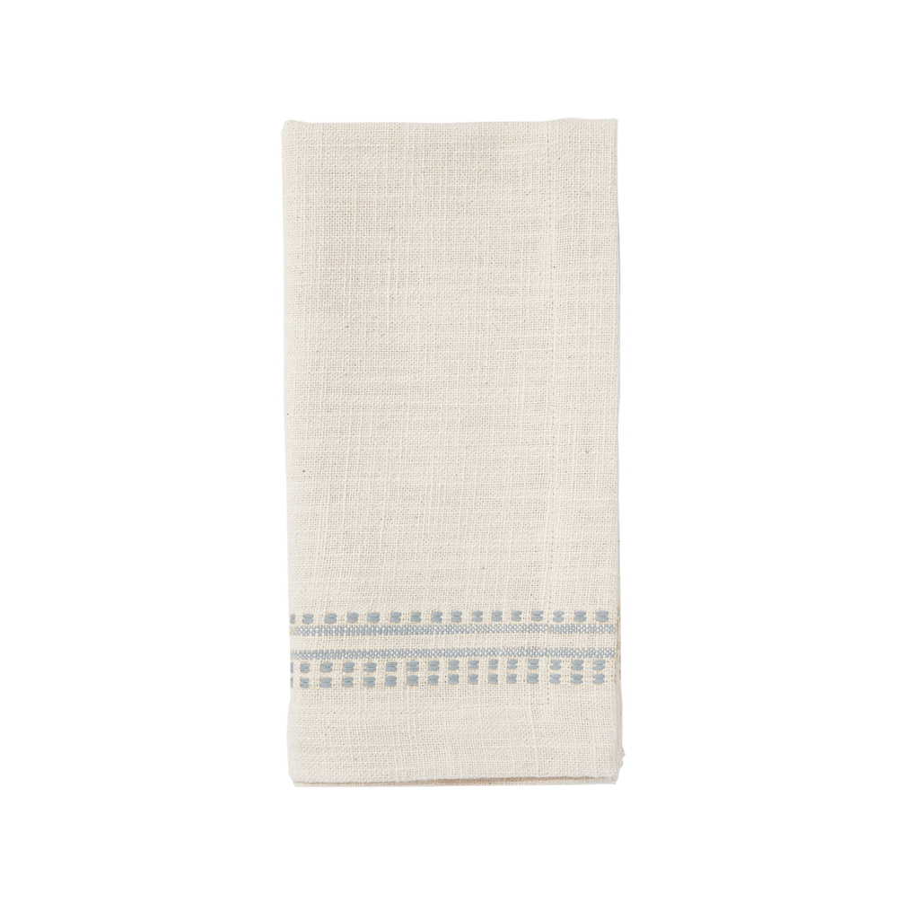 Dotted French Stripe Kitchen Cloth/Napkin - Cloud