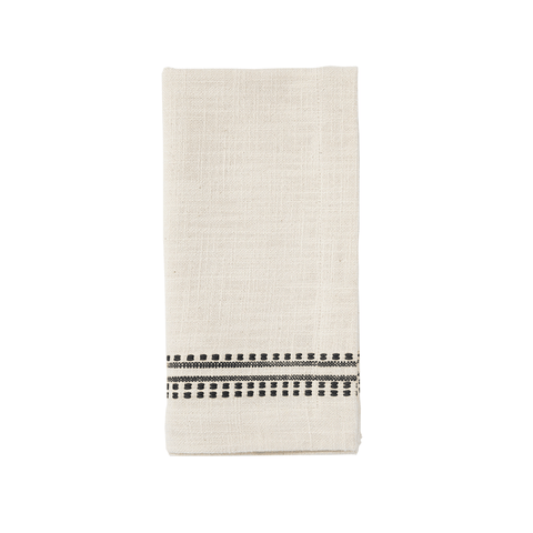 Dotted French Stripe Kitchen Cloth/Napkin - Charcoal