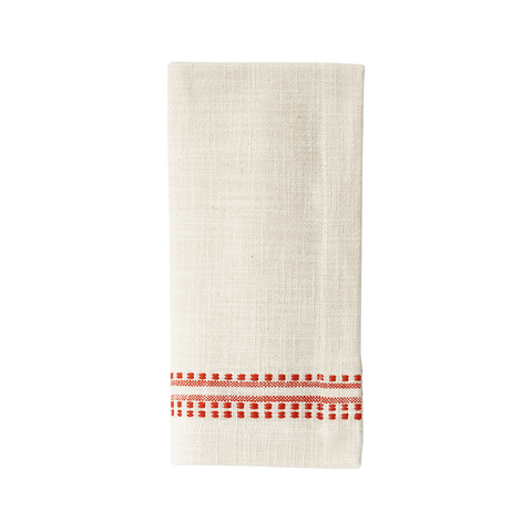 Kitchen Cloth/Napkin - Dotted French Stripe -  Tomato