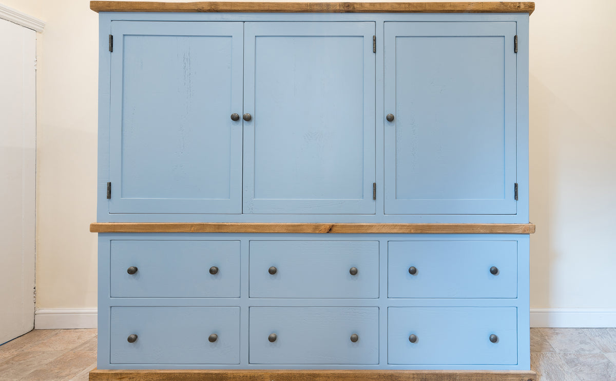 Kitchen Housekeeping Cupboards Painted In FB Lulworth Blue