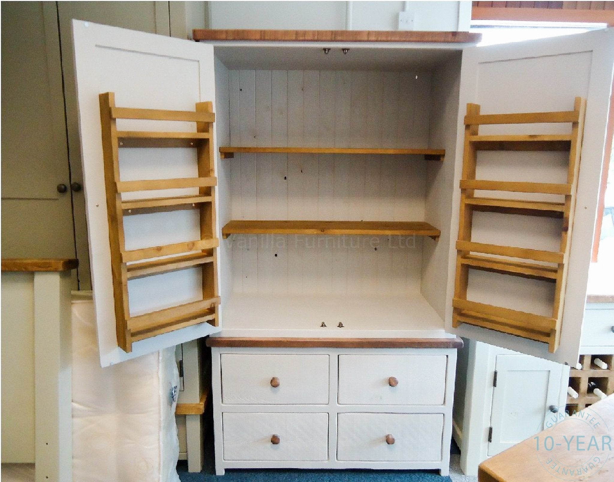 A painted plank 3 drawer bedside vanilla furniture for Oak kitchen larder units