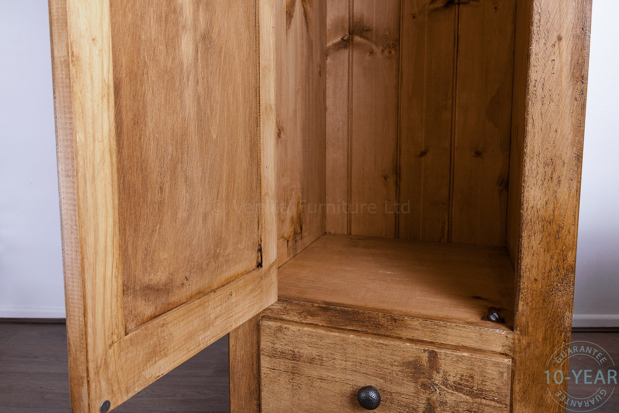 A Rustic Plank 1 Door 2 Drawer Single Wardrobe - Vanilla ...