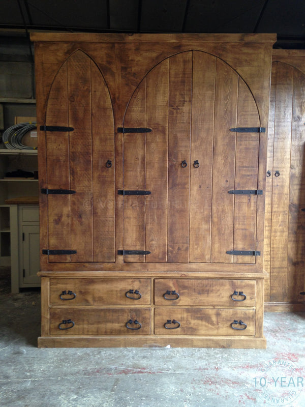 A Rustic Plank Arched 3 Door 2 Drawer Triple Wardrobe