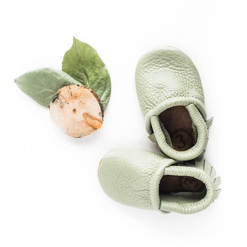 Tea green Leather Moccs Shoes Baby and Toddler