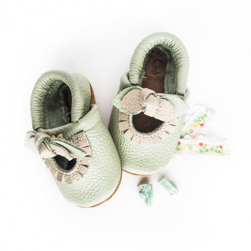 BOW Tea green Mary Jane MOCCS Baby and Toddler