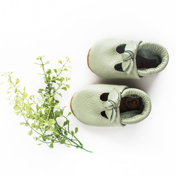 BOW Tea Green T-Straps Baby and Toddler