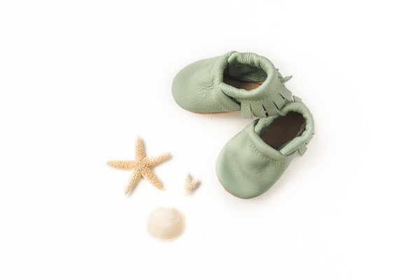 Mint Leather Moccs Shoes Baby and Toddler