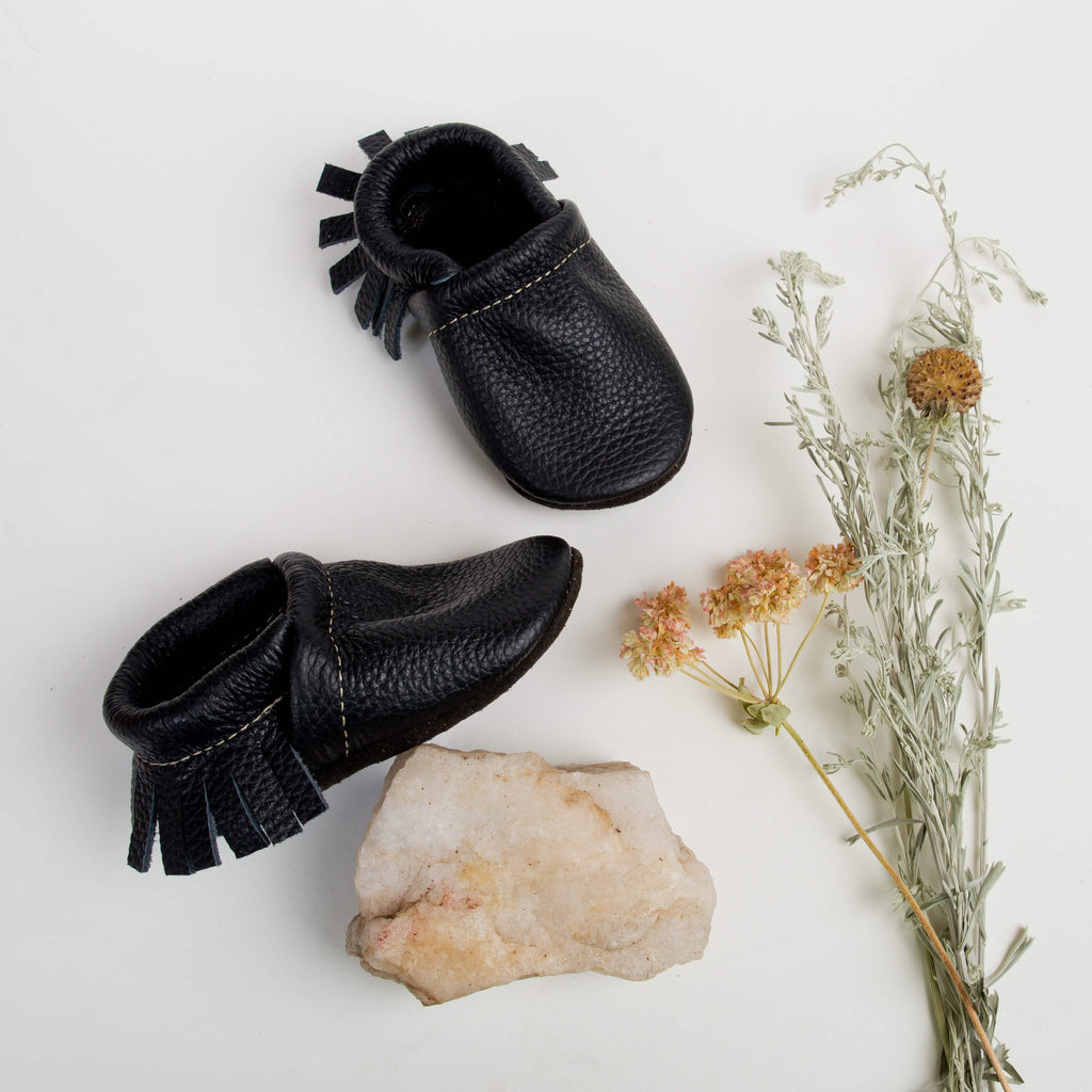 Black Leather Moccs Shoes Baby and Toddler