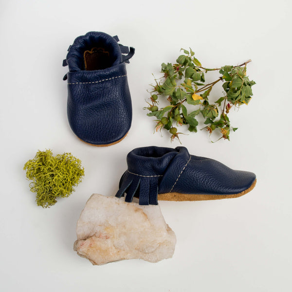 Navy Leather Moccs Shoes Baby and Toddler