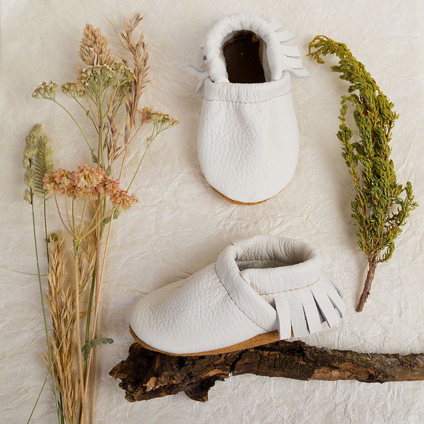 White Leather Moccs Baby and Toddler