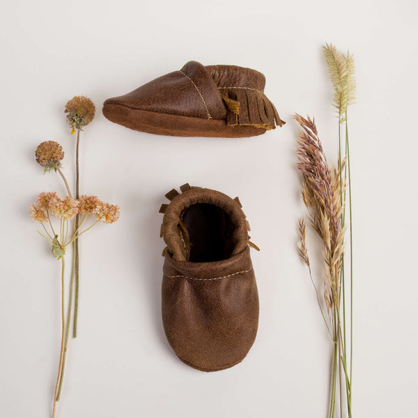 Lodge Brown Leather Moccs Shoes Baby and Toddler