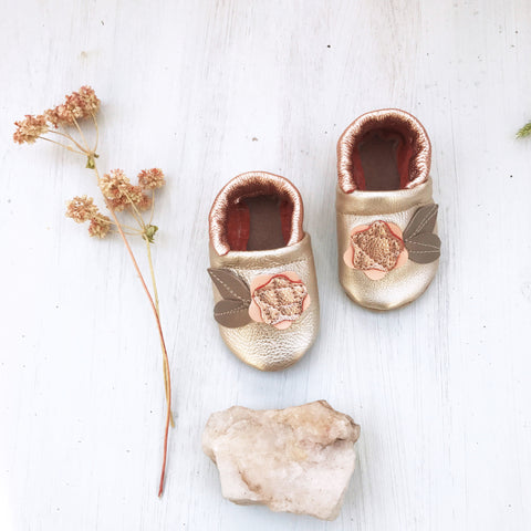 Rose gold Flower  Leather Shoes Moccs Baby and Toddler