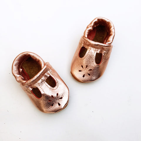 Rose Gold T-Strap Shoes Baby and Toddler