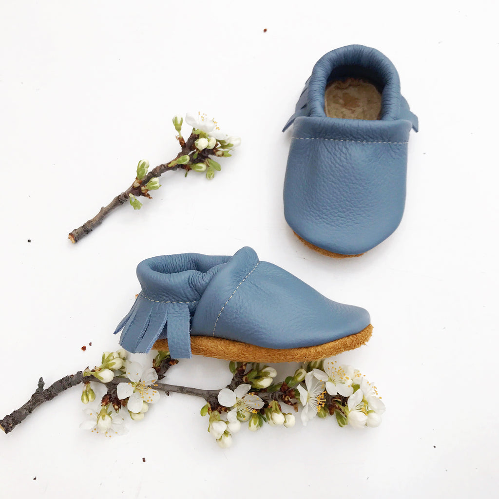 Big Sky Blue Leather Moccs Shoes Baby and Toddler