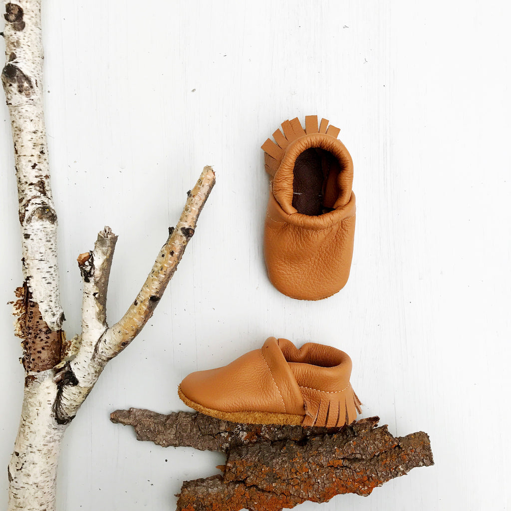 Camel Tan Leather Moccs Shoes Baby and Toddler