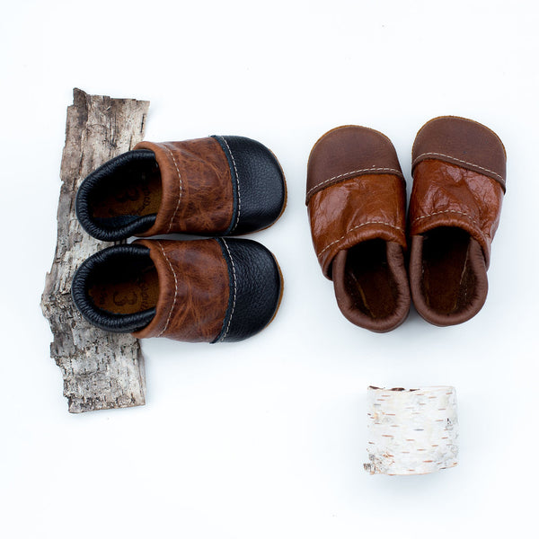 Two Tone Loafer Baby and Toddler Shoes( Black/Brandy, Walnut/Cognac)