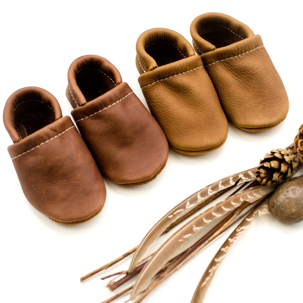 Oak, Walnut Leather Loafers Shoes Baby and Toddler