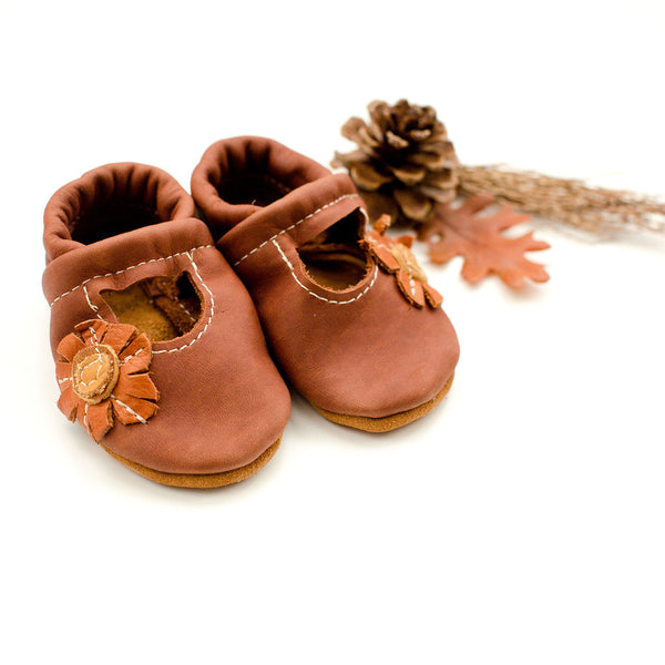 Sunflower on Cedar Mary Janes Shoes Baby and Toddler