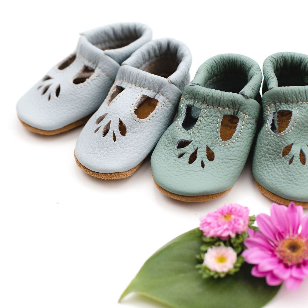 Powder Blue & Mint LOTUS T-strap Shoes Baby and Toddler