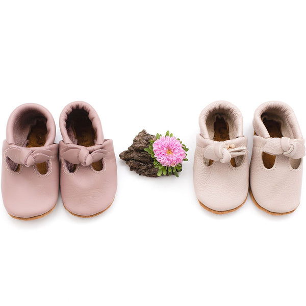 Dusty Rose & Oyster Pink BOW  T-Straps Baby and Toddler