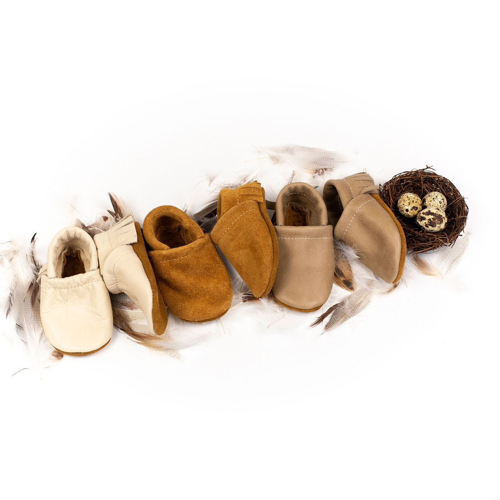Coconut, Suede, Sand dollar Leather Moccs Shoes Baby and Toddler