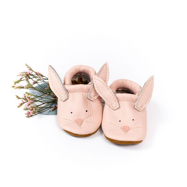 Pink Bunnies // Cute Critters Leather Shoes Baby and Toddler Bunny