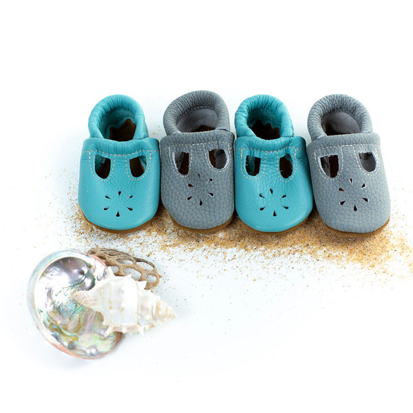 Aqua & Blue Heron T-strap Shoes Baby and Toddler