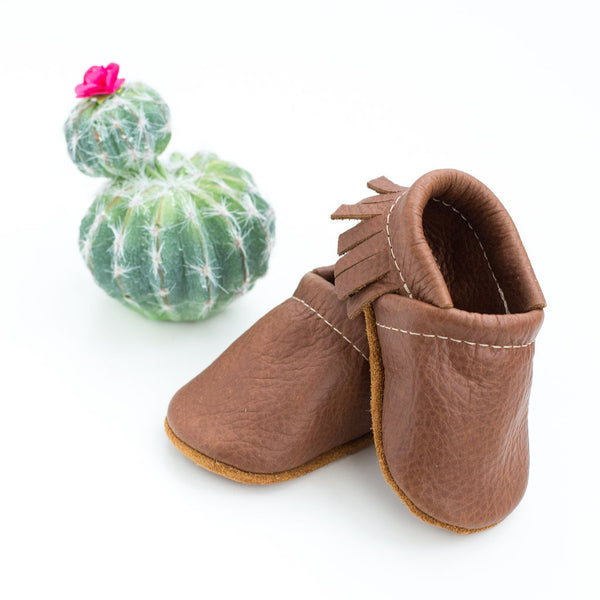 Coffee Leather Moccs Shoes Baby and Toddler