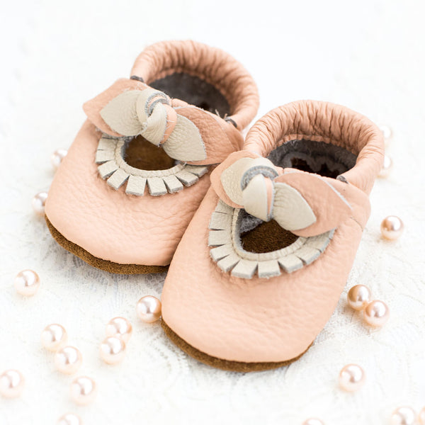 BOW Peach Mary Jane MOCCS Baby and Toddler