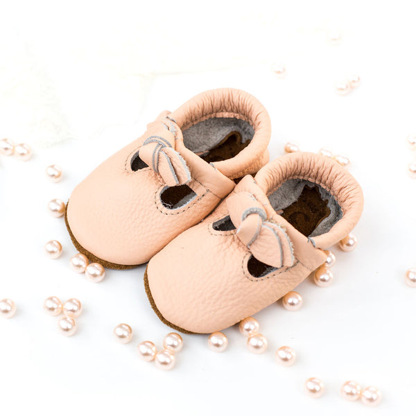 BOW Peach T-Straps Baby and Toddler