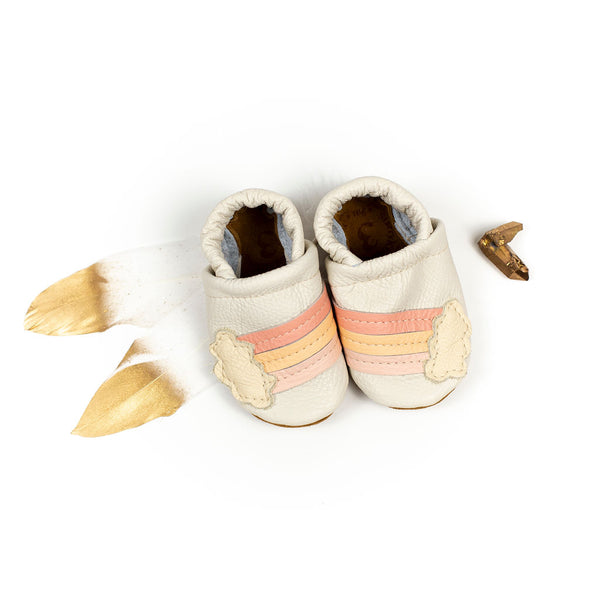 Rainbow on Milk Leather Shoes Moccs Baby and Toddler