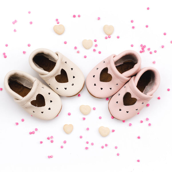 Rose Blush & Cream HEART JANES Baby and Toddler