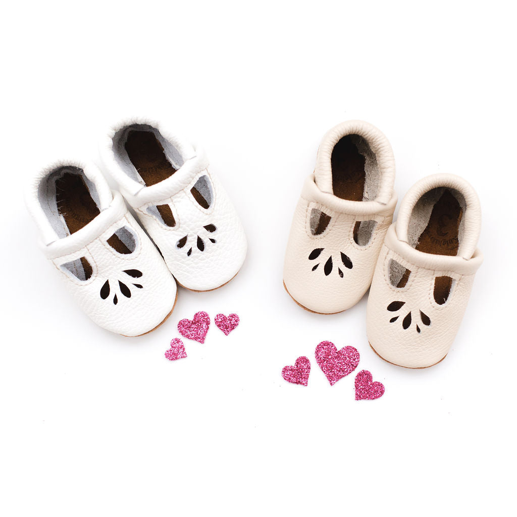 White & Cream LOTUS T-strap Shoes Baby and Toddler