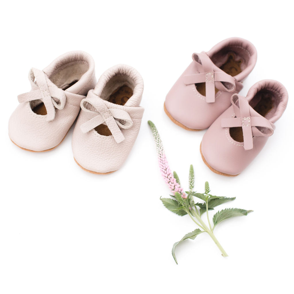 Dusty Rose & Oyster Pink BALLET BOW FLATS Baby and Toddler