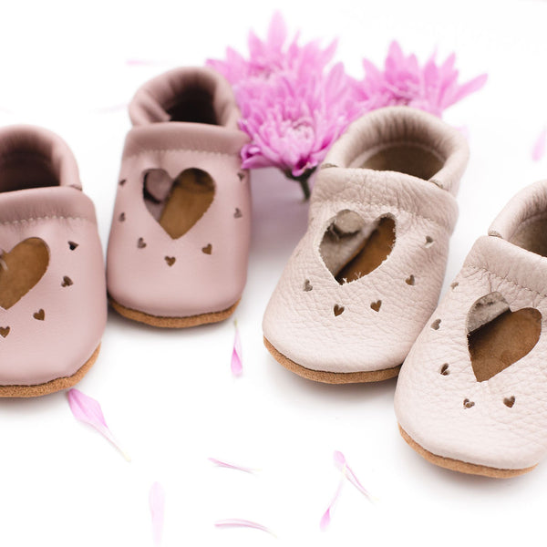 Dusty Rose & Oyster Pink HEART JANES Baby and Toddler