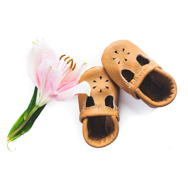 Camel Tan T-Strap Shoes Baby and Toddler