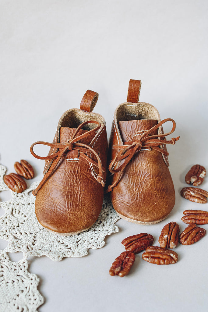 Pecan LACE UP BOOTIES Baby and Toddler