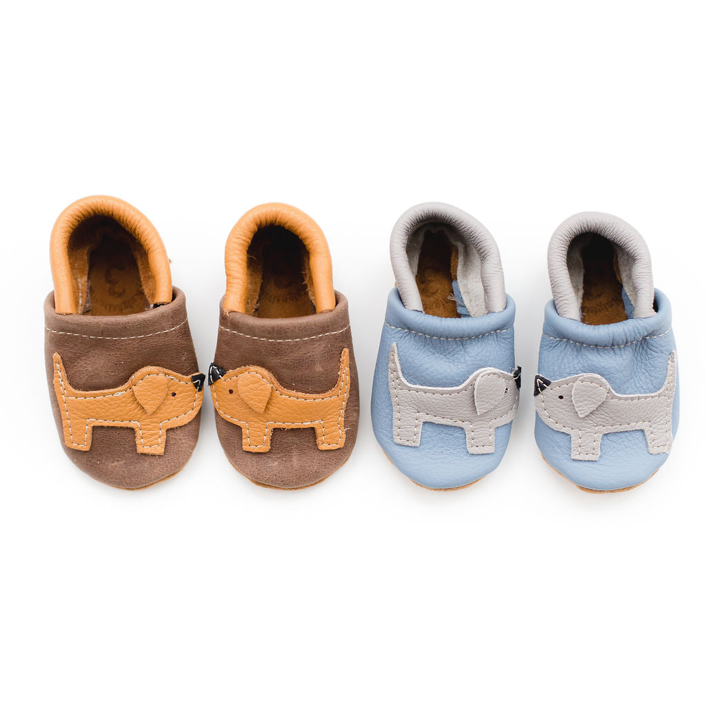 Honey & Gray Doggies  Leather Shoes Moccs Baby and Toddler