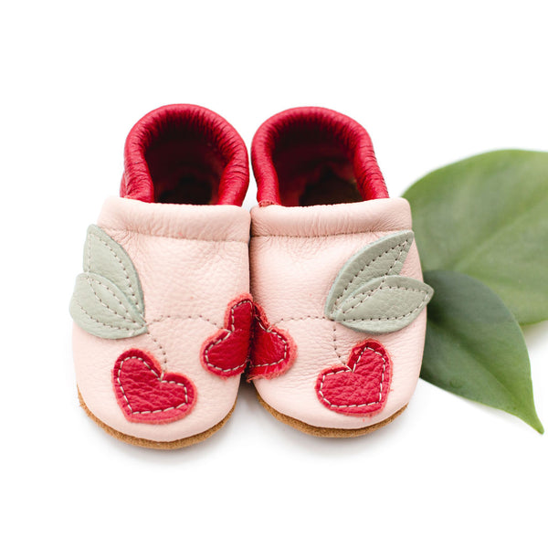 Cherries on pink Leather Shoes Moccs Baby and Toddler
