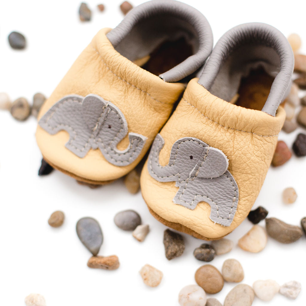 Yellow Elephant Leather Shoes Moccs Baby and Toddler