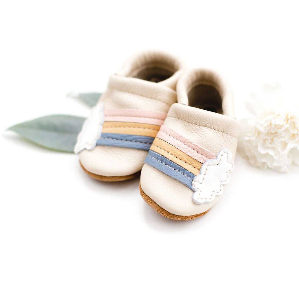 Rainbow on Cream Leather Shoes Moccs Baby and Toddler