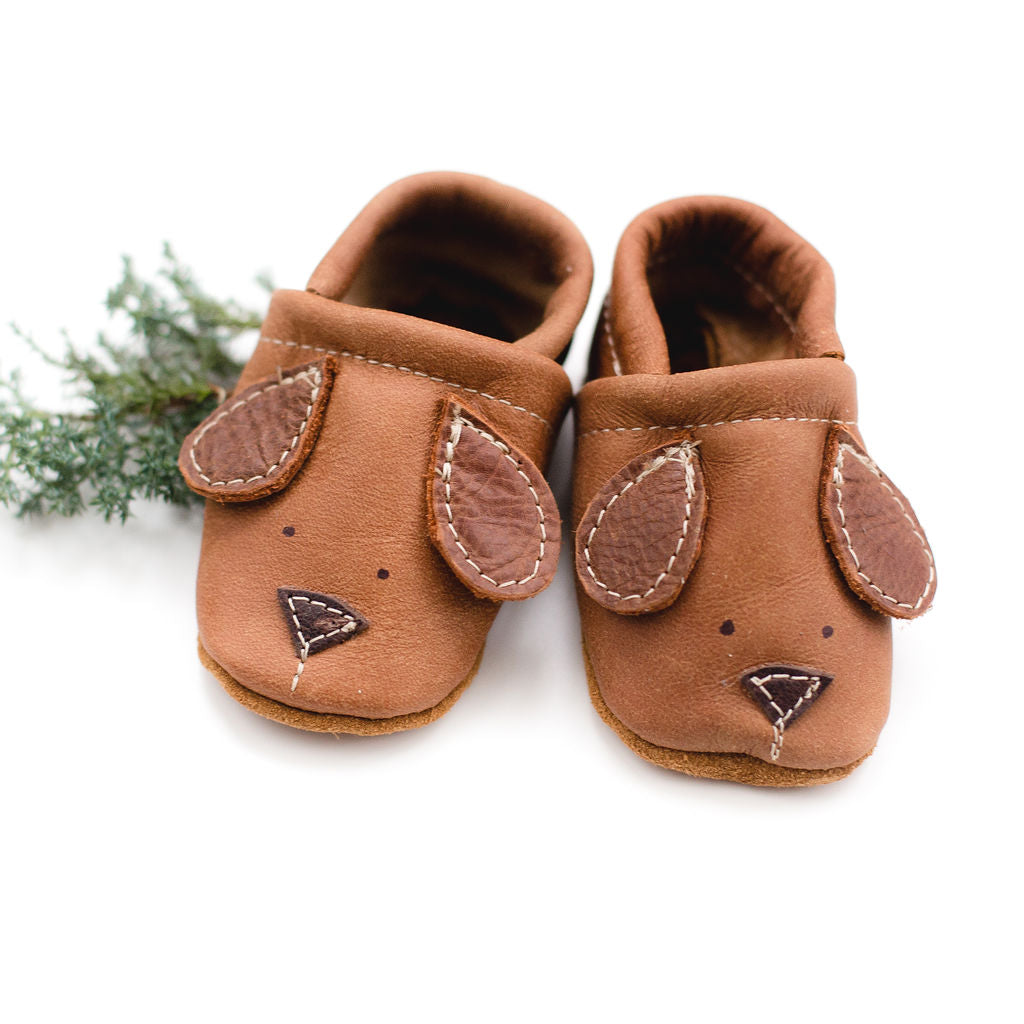 Doggies Brown // Cute Critters Leather Shoes Baby and Toddler Dog Dogs
