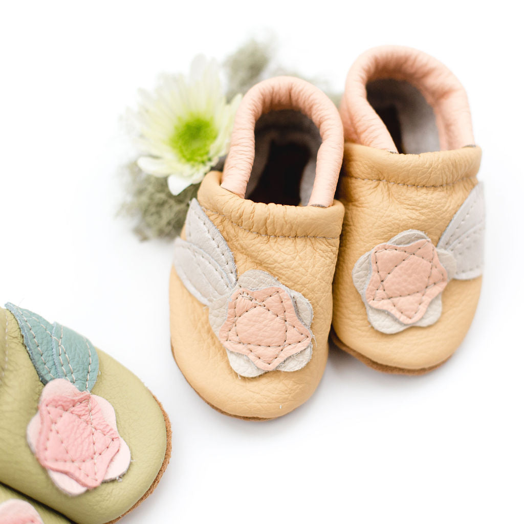 Peach Flower Leather Shoes Moccs Baby and Toddler